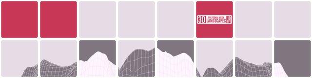 Mosaico piastrellato semplice con il paesaggio della montagna illustrazione di stock