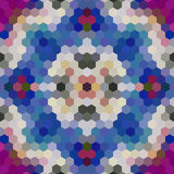Mosaico polivinílico bajo caleidoscópico del vector del estilo del hexágono Imagen de archivo libre de regalías