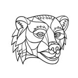 Mosaico principal del oso grizzly blanco y negro imagenes de archivo