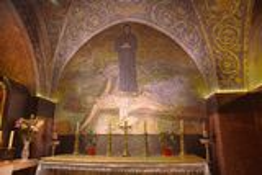 Mosaico de la crucifixión - iglesia del sepulcro santo Imagen de archivo