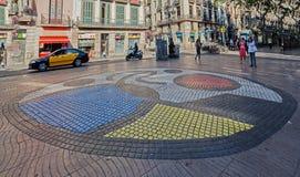 Mosaico Rambla Barcellona delle mattonelle di Miro Immagini Stock Libere da Diritti