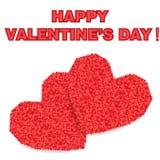 Mosaico rojo del corazón Dos corazones grandes Imágenes de archivo libres de regalías