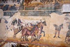 Mosaico romano da casa de campo - Sicília Fotografia de Stock Royalty Free