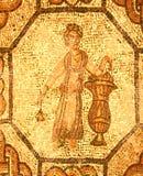 Mosaico romano di una persona che tiene una rosa fotografia stock