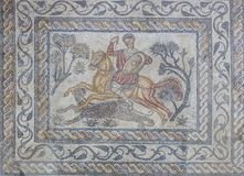 Mosaico romano o Venatio del cacciatore della pantera Fotografie Stock