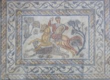 Mosaico romano o Venatio del cazador de la pantera Fotos de archivo libres de regalías