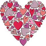 Mosaico rosado de Purple Heart en el fondo blanco Foto de archivo