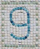 Mosaico rustico di numero nove Immagine Stock