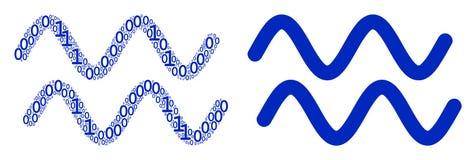 Mosaico sinusoide das ondas de elementos binários Fotografia de Stock Royalty Free