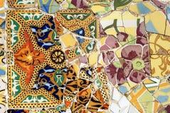 Mosaico in sosta Guell, Barcellona Immagini Stock