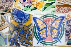Mosaico in sosta Guell (Barcellona, Spagna) Immagini Stock Libere da Diritti