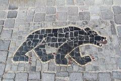 Mosaico sul marciapiede: orso Stein Reno switzerland Fotografia Stock