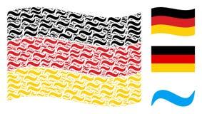 Mosaico tedesco d'ondeggiamento della bandiera degli oggetti di Wave di acqua Immagini Stock Libere da Diritti