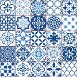 Mosaico velho retro geométrico do teste padrão do vetor da telha de Lisboa Azulejo, o português ou o espanhol das telhas, desig s ilustração stock
