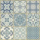 Mosaico viejo retro geom?trico del modelo del vector de la teja de Lisboa Azulejo, portugu?s o espa?ol de las tejas, desig incons ilustración del vector