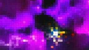 Mosaico violeta com efeito instantâneo e partículas quadradas, fundo abstrato gerado por computador da tecnologia digital, 3d filme