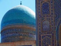 Mosaicos ciánicos, del azul y de la turquesa de una bóveda Imagen de archivo