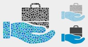 Mosaicos do ícone do caso da oferta dos quadrados e dos círculos ilustração stock