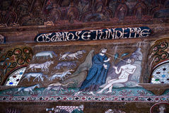 Mosaics from Cappella Palatina. The Palatine Chapel in the Norma. Ns Palace.Palatine Chapel in Norman palace in style of Byzantine architecture from years 1132 Stock Photography