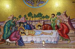 Mosaics in the church. Of the Holy Sepulcher, the withdrawal from the cross of Jesus Christ , Jerusalem Royalty Free Stock Photo