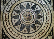 Mosaics from Helicarnassus exibited in British Miseum Royalty Free Stock Photos