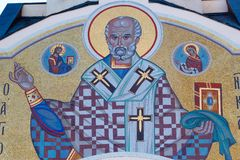 Mosaics on religious themes St. Nicholas stock image