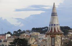 Mosaics tower in Barcelona royalty free stock photo