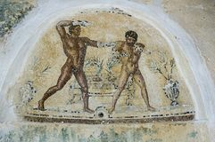 The mosaics of Villa Sileen. Libya - 10/30/2006: The ancient ruins of Villa Sileen Silin, home of the Roman Patricians, with its magnificent mosaics stock photos