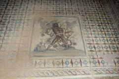 The mosaics of Villa Sileen. Libya - 10/30/2006: The ancient ruins of Villa Sileen Silin, home of the Roman Patricians, with its magnificent mosaics stock photo