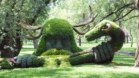 MOSAICULTURES国际性组织2013年,蒙特利尔植物园,蒙特利尔,魁北克 蒙特利尔词条:木头的精神, Cernunnos 库存照片