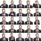 Mosaik av affärsmannen som uttrycker olika sinnesrörelser Arkivfoton