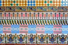 Mosaik av forntida färgrika azulejos (spanska keramiska tegelplattor) Royaltyfri Bild