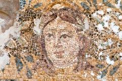 Mosaik av Hades på Roman Baths i salamier, Cypern Arkivfoton