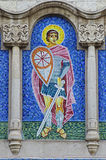 Mosaik av St George på fasad av en kyrka Royaltyfri Foto