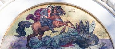 Mosaik av St George på kyrkan av helgonet Sava i Belgrade Royaltyfri Bild