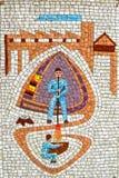 Mosaik av två Glass blåsare i Murano Royaltyfri Fotografi
