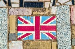 Mosaik av Union Jack, nationsflaggan av Förenade kungariket Arkivbild