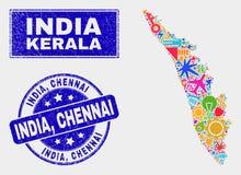 Mosaik bearbeitet Kerala-Staats-Karte und Bedrängnis Indien, Chennai Stempelsiegel stock abbildung