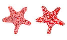 Mosaik Bent Star Icons von Reparatur-Werkzeugen stock abbildung