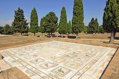 Mosaik des Hauses der Vögel, römische Stadt von Italica, Andalusien, Spanien stockbild