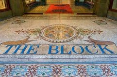 Mosaik des viktorianischen Stils auf dem Boden des berühmten Blocksäulengangs in mir Stockfotos