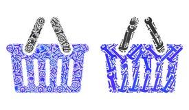Mosaik-Einkaufskorb-Ikonen von Reparatur-Werkzeugen lizenzfreie abbildung