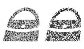 Mosaik-Einkaufstasche-Ikonen von Reparatur-Werkzeugen stock abbildung