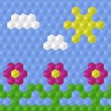 Mosaik för barn` s Blommor solen, gräs, fördunklar på en blå bakgrund också vektor för coreldrawillustration Royaltyfri Foto