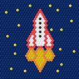 Mosaik för barn` s En raket i utrymme också vektor för coreldrawillustration Royaltyfria Foton