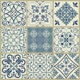 Mosaik f?r modell f?r vektor f?r Lissabon geometrisk Azulejo tegelplatta portugisisk eller spansk retro gammal tegelplatta, medel vektor illustrationer