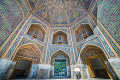 Mosaik i Tilya Kori Madrasah i Samarkand, Uzbekistan Arkivfoton