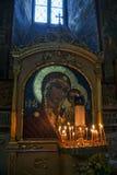 Mosaik-Ikone unserer Dame von Kasan in der Annahme-Kathedrale Stockfotos