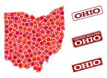 Mosaik-Karte der Staat Ohio-und Grunge-Schuldichtungs-Komposition stock abbildung
