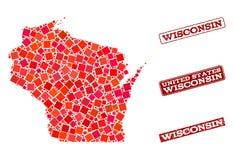 Mosaik-Karte des Staat Wisconsins und der verkratzten Schulstempel-Zusammensetzung vektor abbildung